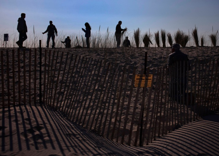Residents and volunteers plant sea grass atop of a dune built to protect the remote Breezy Point, Queens beach community on the one-year anniversary of Hurricane Sandy in New York