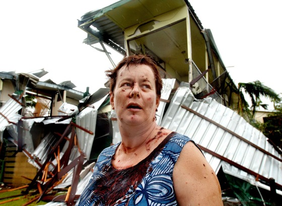 "At daybreak on 20th March 2006 category 5 Cyclone Larry smashed into the northern Australian township of Innisfail - devastating homes, business's, crops and lives. 001 - As the cylonic winds began to abate Kate Charleston emerged from the twisted wreckage of her home - covered in blood and lacerations - to describe how her house had ""exploded"" at the height of the storm almost taking her life."